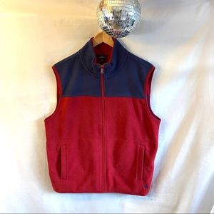Brooks Brothers 346 Fleece Full Zip Vest Red Blue